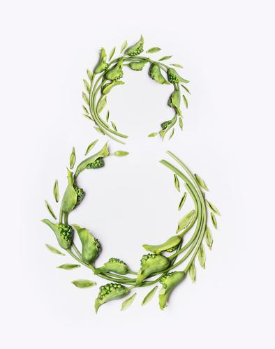 8 with green flowers and leaves Style Design Feasts & Celebrations Nature Plant Flower Leaf Blossom Decoration Bouquet Characters Ornament Green number