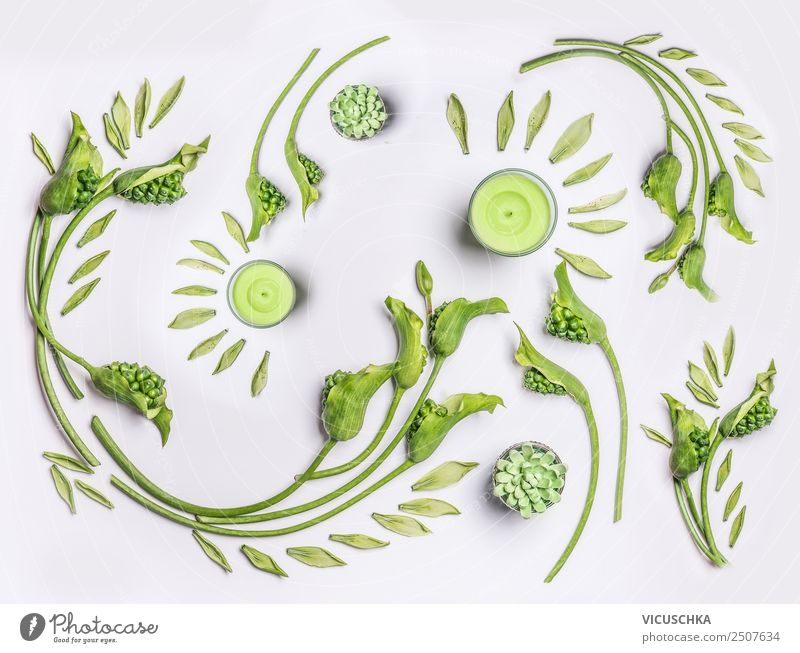 Green flowers and leaves flat lay Design Healthy Wellness Spa Summer Nature Plant Flower Leaf Blossom Decoration Ornament green candles Background picture