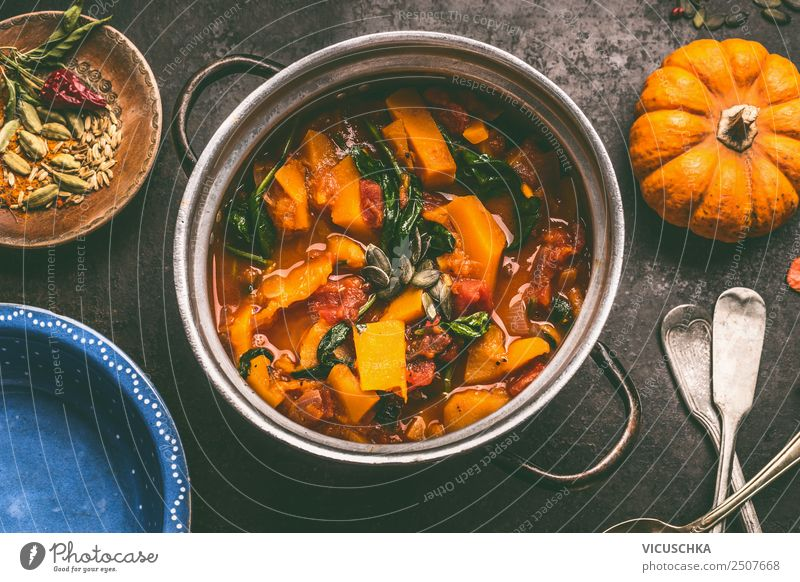 Pumpkin stew Food Vegetable Soup Stew Nutrition Lunch Banquet Organic produce Vegetarian diet Diet Crockery Pot Cutlery Style Design Healthy Eating Cooking