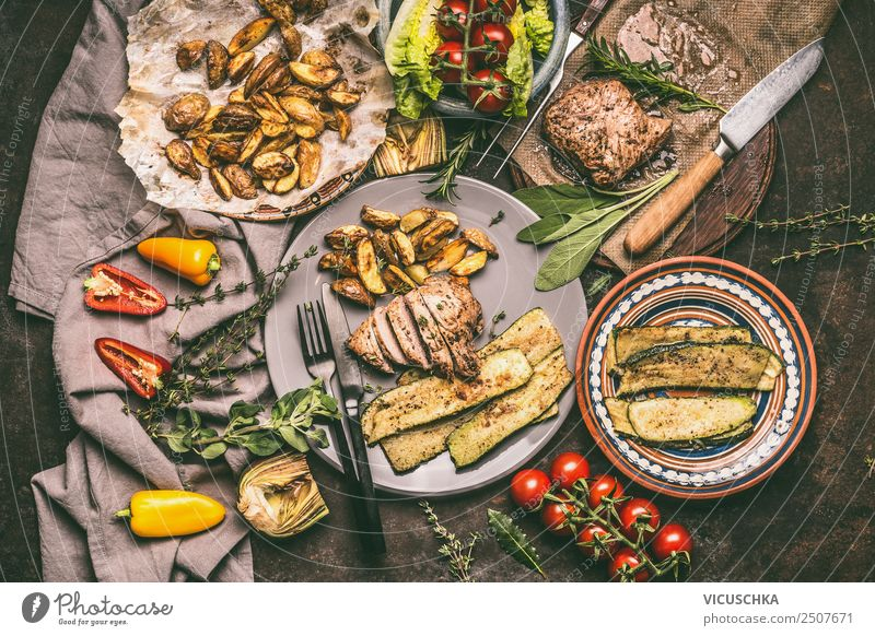 Grilled pork steak and vegetables Food Meat Vegetable Lettuce Salad Nutrition Organic produce Crockery Plate Cutlery Style Design Barbecue (apparatus) Steak BBQ