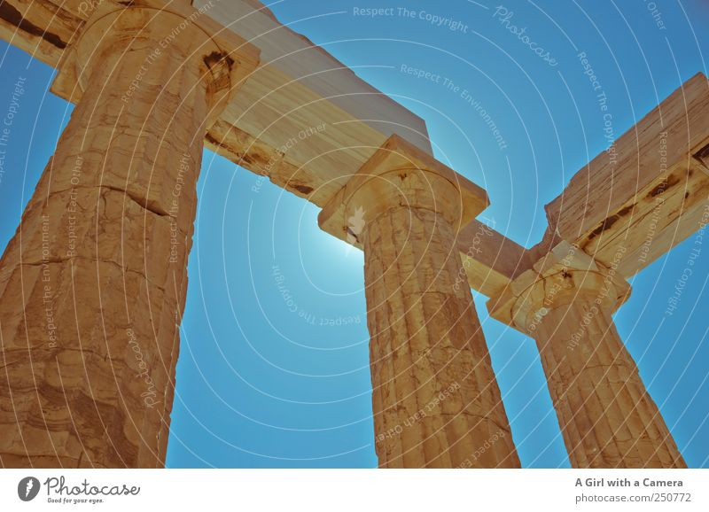 on this grey day .... Sky Cloudless sky Summer Weather Beautiful weather Athens Greece Outskirts Old town Manmade structures Architecture Column