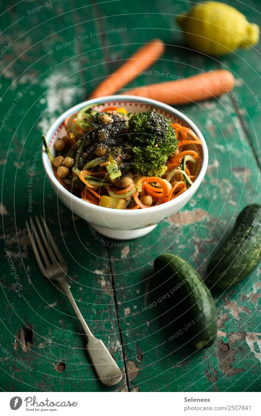 carrot noodles Food Vegetable Lettuce Salad Carrot salad Cucumber Lemon Broccoli Chickpeas Nutrition Eating Lunch Dinner Organic produce Vegetarian diet Diet