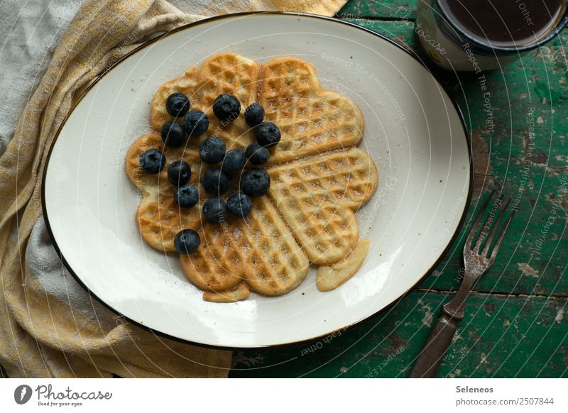 Weekend breakfast Food Fruit Dough Baked goods Waffle Blueberry Sugar Coffee Nutrition Eating Breakfast To enjoy Delicious Sweet Colour photo Interior shot