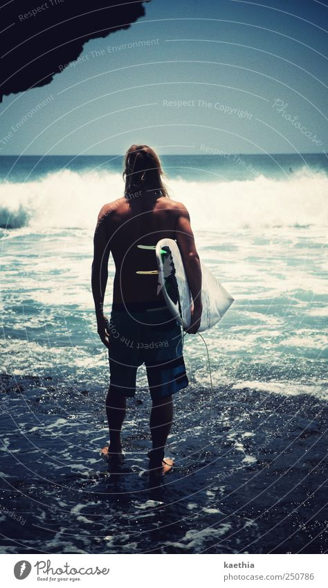 Human being Sky Man Water Joy Summer Vacation & Travel Beach Ocean Sports Playing Style Sand Adults Coast Waves