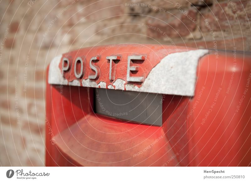 Always on the post(s) Wall (barrier) Wall (building) Metal Characters Old Red Nostalgia Mailbox Italy Varnish Derelict Brick wall Colour photo Exterior shot