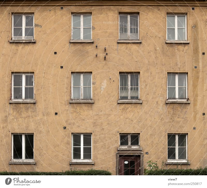 Old Calm Loneliness House (Residential Structure) Dark Window Wall (building) Wall (barrier) Building Door Facade Concrete Authentic Stripe Living or residing Retro