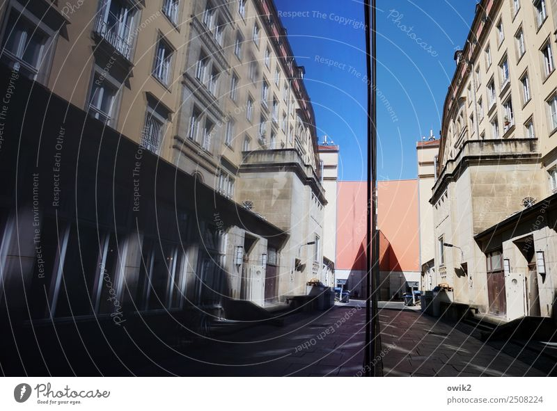 supplier entrance Cloudless sky Dresden Germany House (Residential Structure) Building The fifties Wall (barrier) Wall (building) Facade Window Door Stone