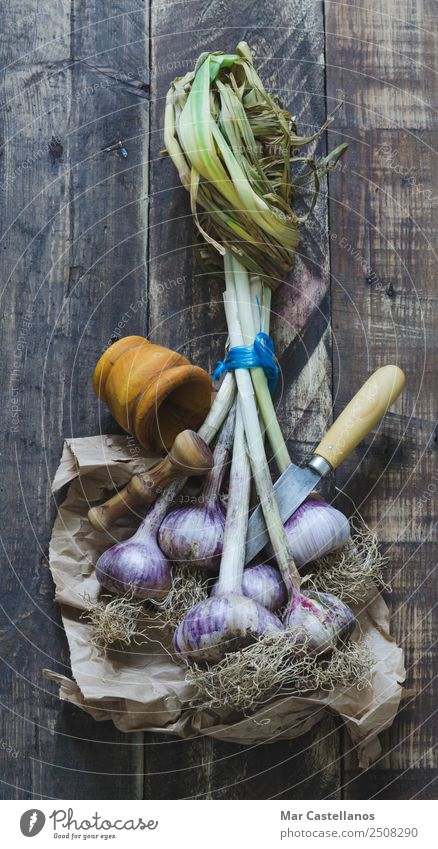 Bunch of garlic with kitchenware on wooden background Nature Plant Green Eating Natural Brown Nutrition Fresh Herbs and spices Kitchen Violet Vegetable