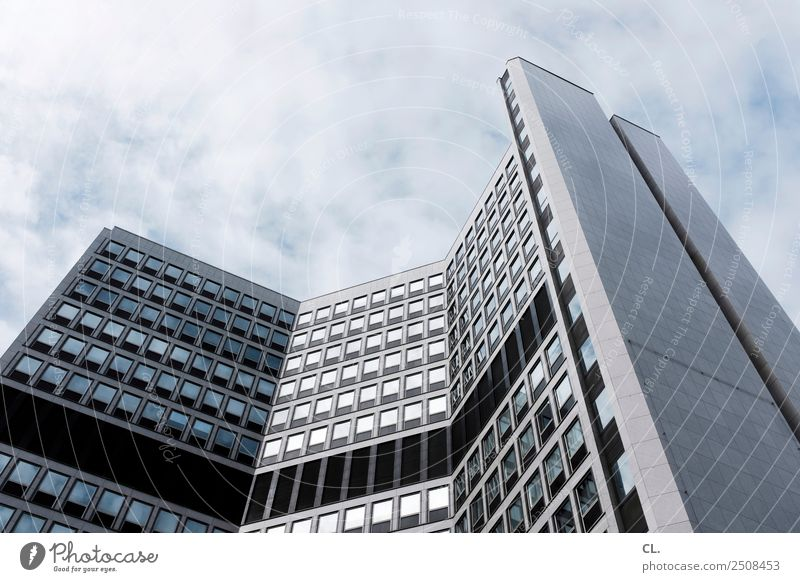 office building, food Office Economy Construction site Business Company Sky Clouds Beautiful weather Essen Town Downtown Deserted High-rise Bank building