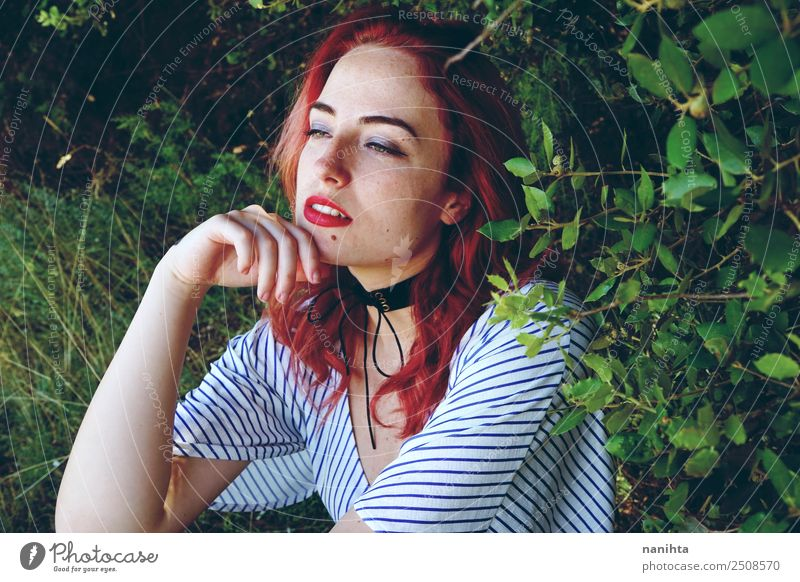 Young woman alone in nature Lifestyle Elegant Style Freckles Wellness Well-being Senses Relaxation Calm Human being Feminine Youth (Young adults) 1