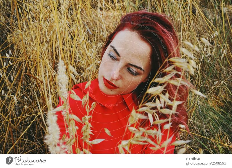 Young redhead woman in nature at autumn Woman Human being Nature Youth (Young adults) Young woman Plant Beautiful Red Relaxation 18 - 30 years Face Lifestyle