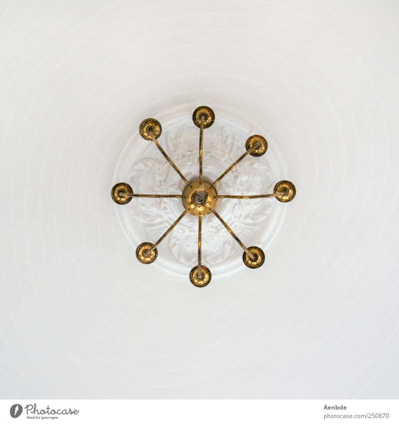chandelier Decoration Esthetic Chandelier Gold White Rosette Stucco Brass Above Subdued colour Interior shot Abstract Deserted