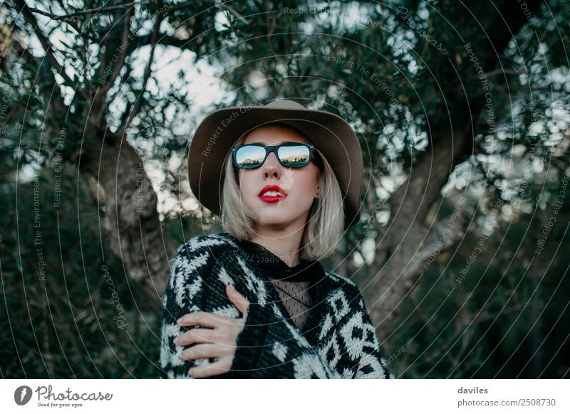 Portrait of blonde woman with sunglasses and a hat Woman Human being Nature Vacation & Travel Youth (Young adults) Young woman Tree Forest Dark 18 - 30 years
