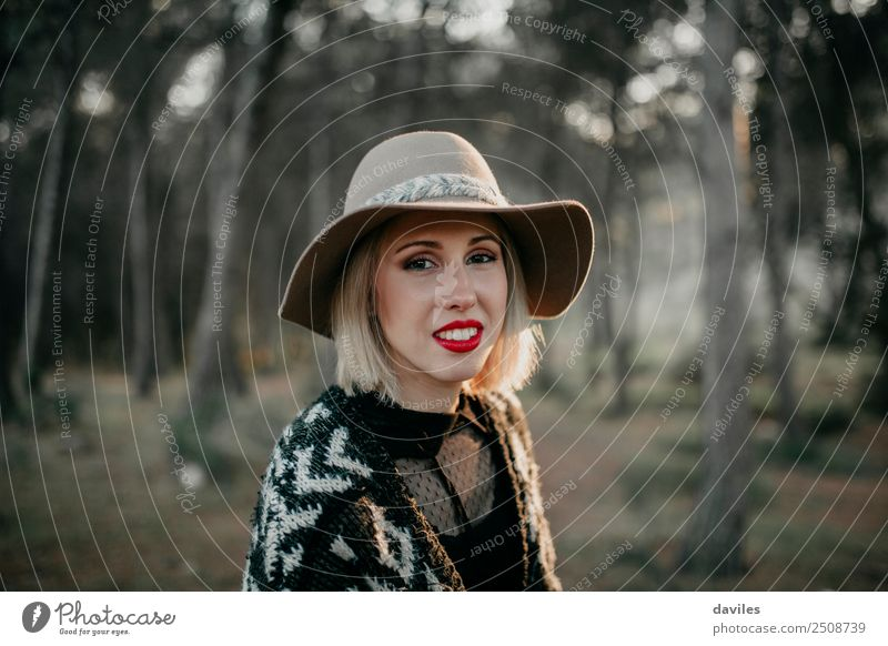 Happy blonde woman close up portrait Human being Nature Vacation & Travel Youth (Young adults) Young woman Beautiful Landscape Forest Mountain 18 - 30 years