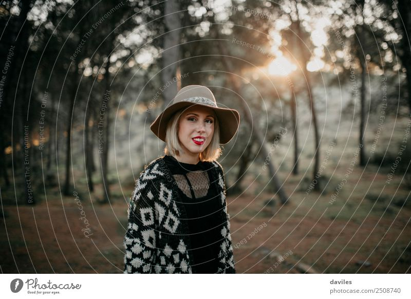 Cute blonde woman walking in the forest Woman Human being Nature Vacation & Travel Youth (Young adults) Young woman Beautiful Landscape Joy Forest Mountain