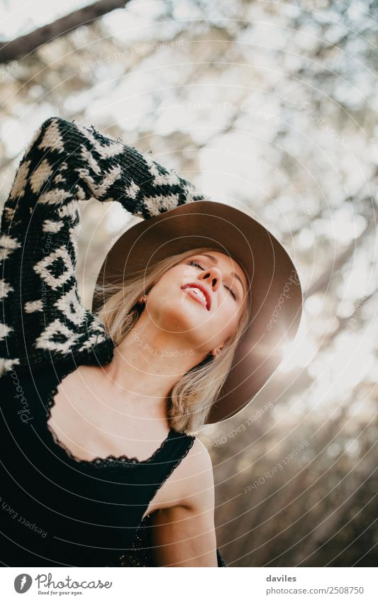 Woman in hat breathing deeply in nature Lifestyle Happy Beautiful Health care Wellness Vacation & Travel Freedom Human being Feminine Young woman