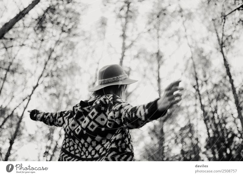 Black and white of woman with opened arms Human being Nature Vacation & Travel Youth (Young adults) Young woman Landscape White Tree Joy Forest 18 - 30 years