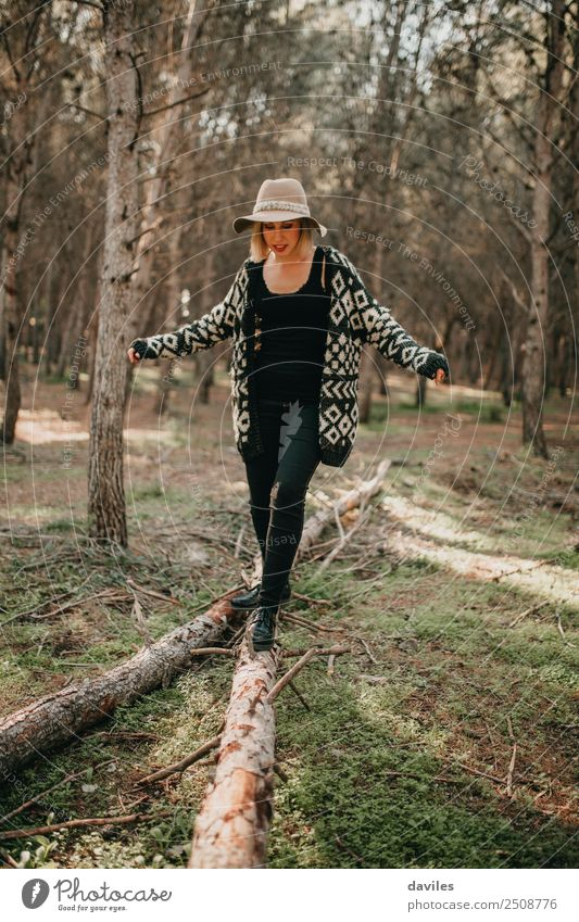 Woman walking on fallen tree trunk Lifestyle Leisure and hobbies Vacation & Travel Trip Adventure Freedom Mountain Hiking Human being Young woman