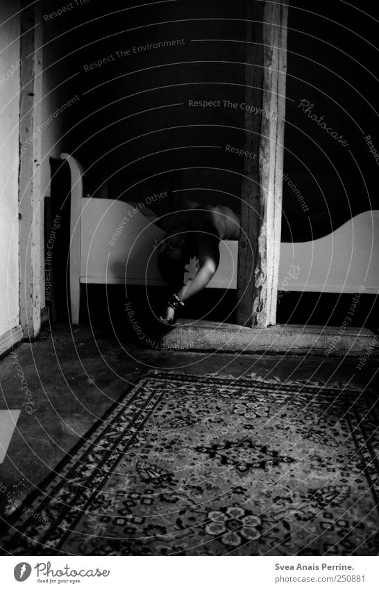drawn from light and shadow. Arm 1 Human being Bedroom Carpet Bedstead Wooden floor Joist Lie Grief Death Black & white photo Interior shot Shadow Contrast