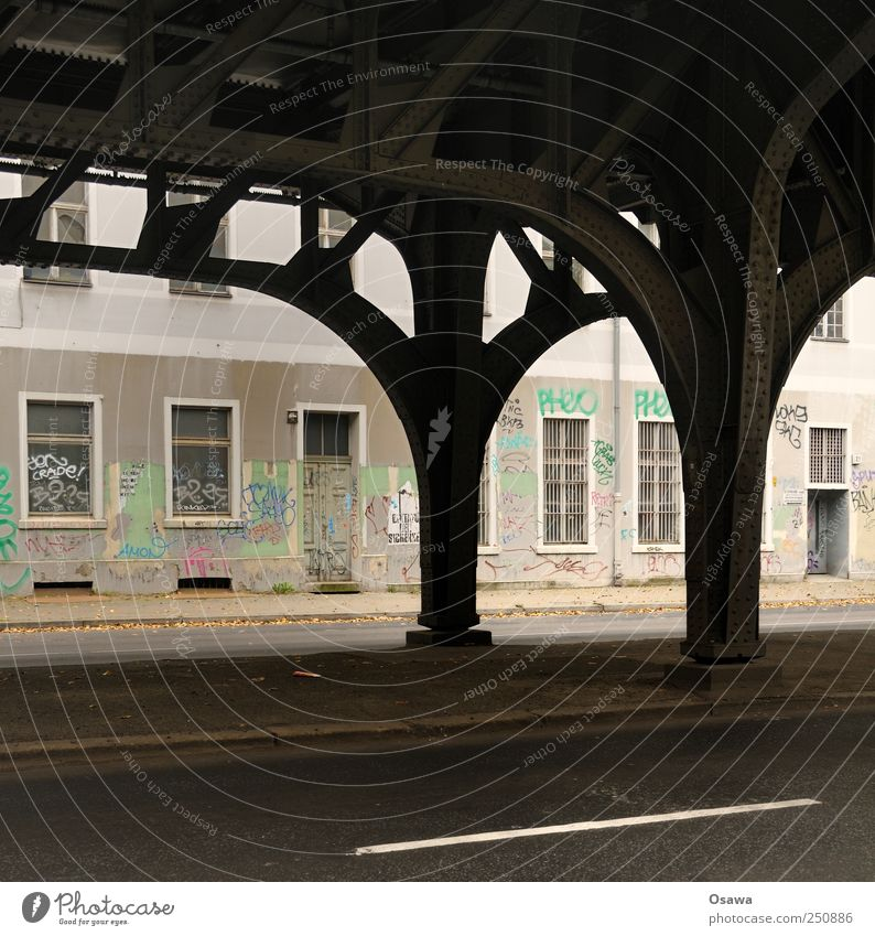 Kreuzberg Town Capital city Deserted House (Residential Structure) Train station Bridge Manmade structures Building Architecture Wall (barrier) Wall (building)