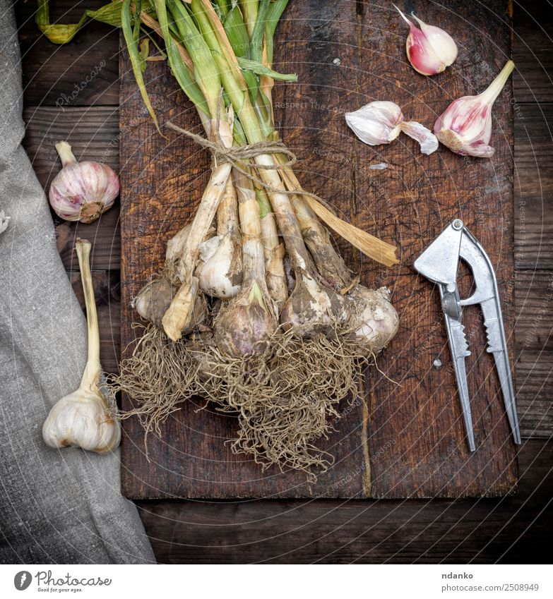 bunch of fresh young garlic Nature Plant Green White Leaf Natural Wood Above Nutrition Fresh Herbs and spices Vegetable Vegetarian diet Salad Root Rustic