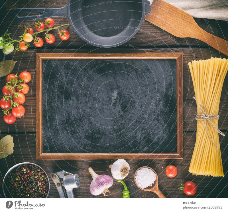 black frame and ingredients for pasta Colour Red Black Yellow Above Fresh Large Vegetable Tradition Long Cooking Mature Blackboard Baked goods Tomato Dough