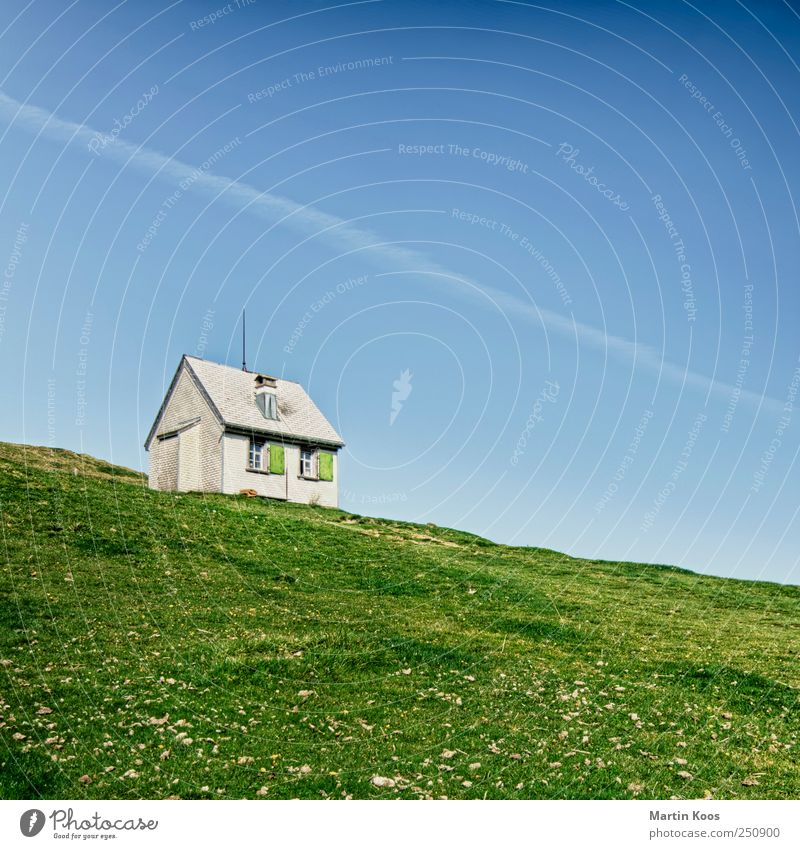 At the end of a road Nature Landscape Beautiful weather Meadow Hill Mountain House (Residential Structure) Hut Blue Green Colour photo Multicoloured