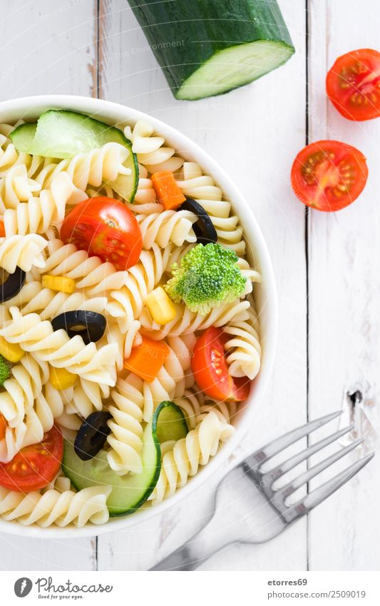 Pasta salad Food Vegetable Lettuce Salad Dough Baked goods Nutrition Vegetarian diet Bowl Summer Fresh Healthy Good Green Red White Tomato Cucumber Macaroni