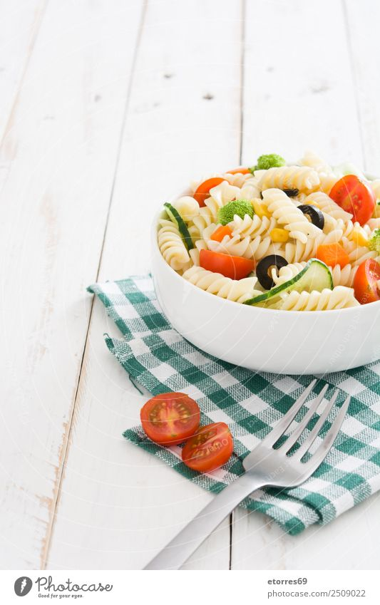 Pasta salad on white wooden table Food Healthy Eating Food photograph Dish Vegetable Lettuce Salad Dough Baked goods Nutrition Vegetarian diet Bowl Summer Fresh