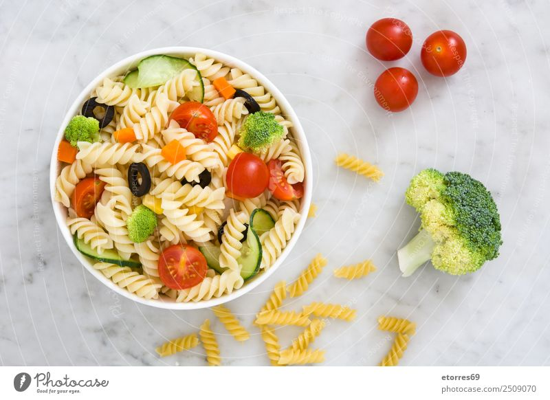 Pasta salad on white marble Food Healthy Eating Food photograph Dish Vegetable Lettuce Salad Dough Baked goods Nutrition Vegetarian diet Bowl Summer Fresh Good