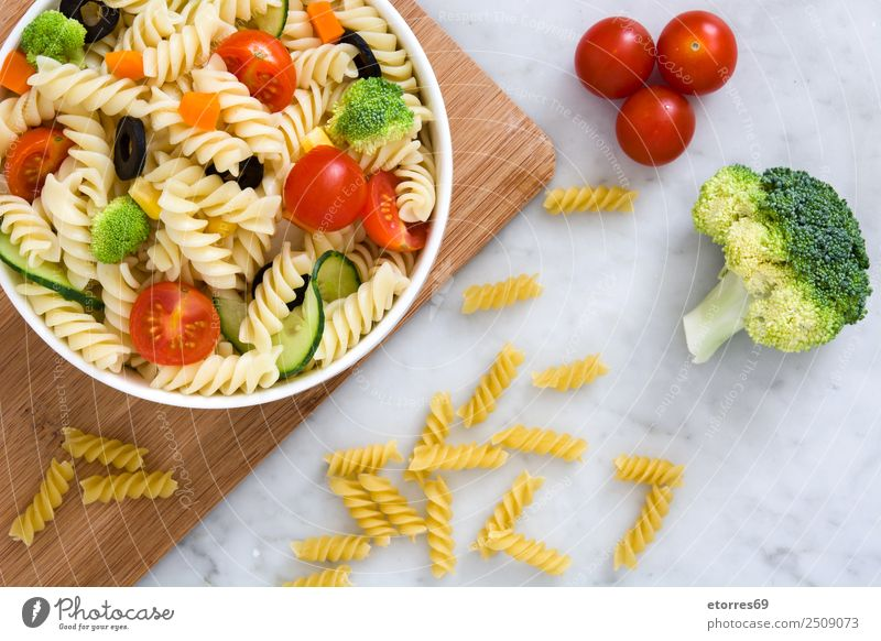 Pasta salad and ingredients Food Vegetable Lettuce Salad Dough Baked goods Nutrition Vegetarian diet Summer Fresh Healthy Green Red Tomato Cucumber Broccoli