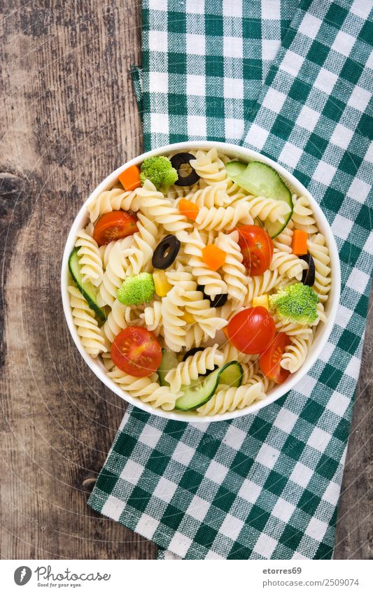Pasta salad Food Lettuce Salad Dough Baked goods Nutrition Lunch Vegetarian diet Bowl Summer Fresh Good Green Red Vegetable Tomato Broccoli Olive Macaroni