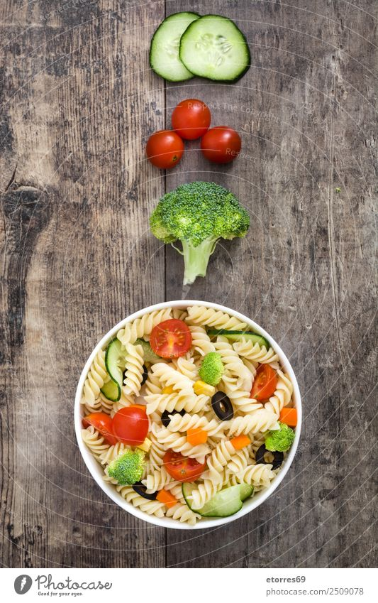 Pasta salad Food Vegetable Lettuce Salad Dough Baked goods Nutrition Vegetarian diet Bowl Summer Fresh Healthy Green Red Cucumber Broccoli Tomato Vegan diet