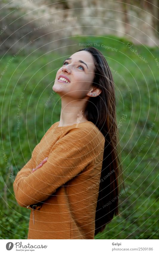 happy teenager girl Happy Beautiful Sun Human being Woman Adults Youth (Young adults) Nature Wind Grass Park Meadow Fashion To enjoy Free Cute Gold Green young