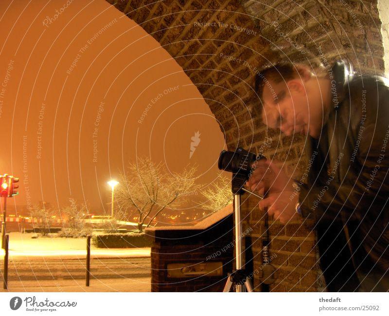 headbang Light Tripod Employees & Colleagues Camera Man Joy Long exposure blur Human being Snow