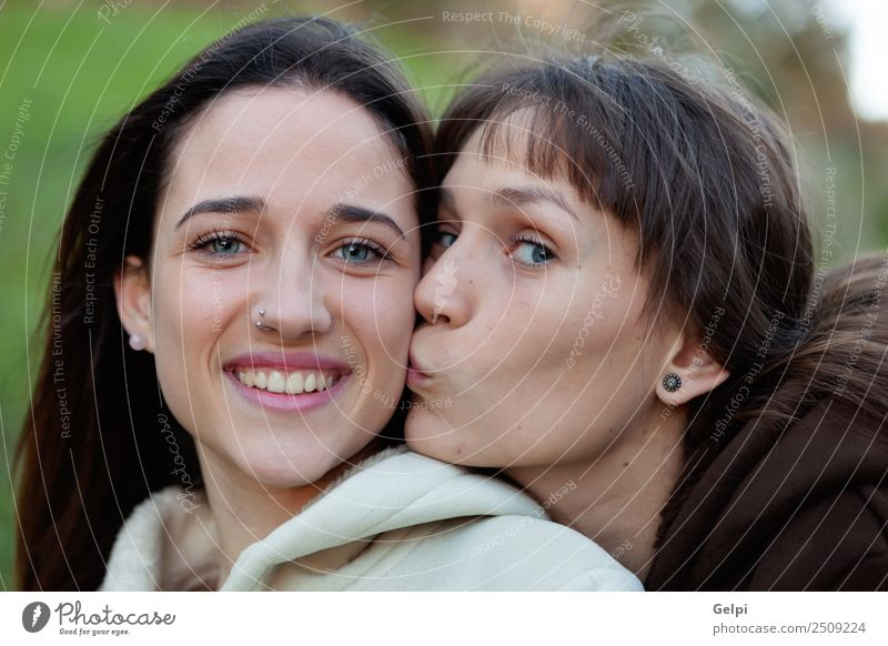 Nice sisters with blue eyes Woman Human being Youth (Young adults) Beautiful Green White Joy Face Adults Lifestyle Love Funny Family & Relations Laughter Happy