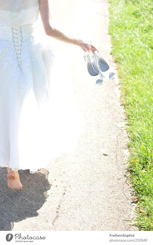 marry barefoot Wedding Human being Feminine Woman Adults Hand Feet 1 18 - 30 years Youth (Young adults) Dress Wedding dress Footwear High heels wedding shoes