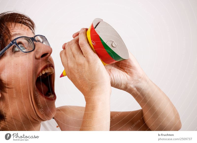 Woman screaming in carnival hat Party Event Feasts & Celebrations Carnival Adults Face Hand Eyeglasses To talk To hold on Communicate Scream Aggression