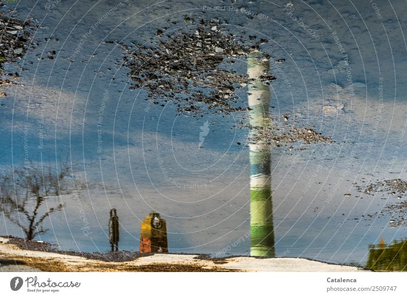 The wrong world, the world of reflections. Exhaust gas Environment Landscape Earth Water Sky Summer Tree Puddle Industry Chimney Trash container To dry up Blue
