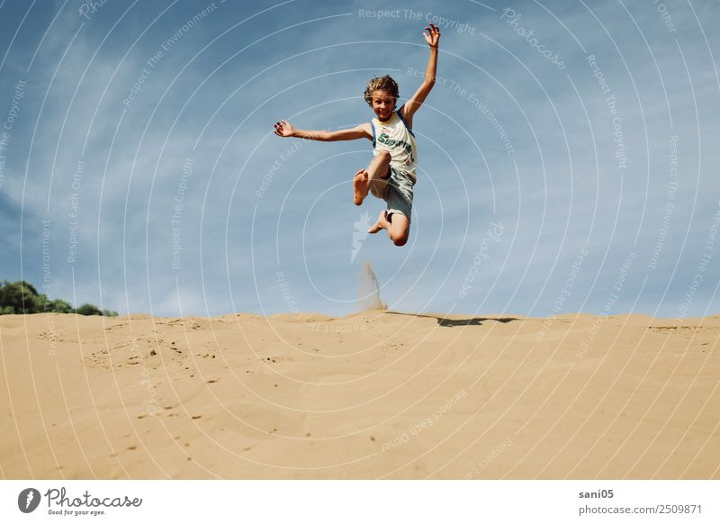 Yipihh Joy Vacation & Travel Adventure Freedom Success Boy (child) Body 1 Human being 8 - 13 years Child Infancy Landscape Sand Sky Summer Desert Discover Jump