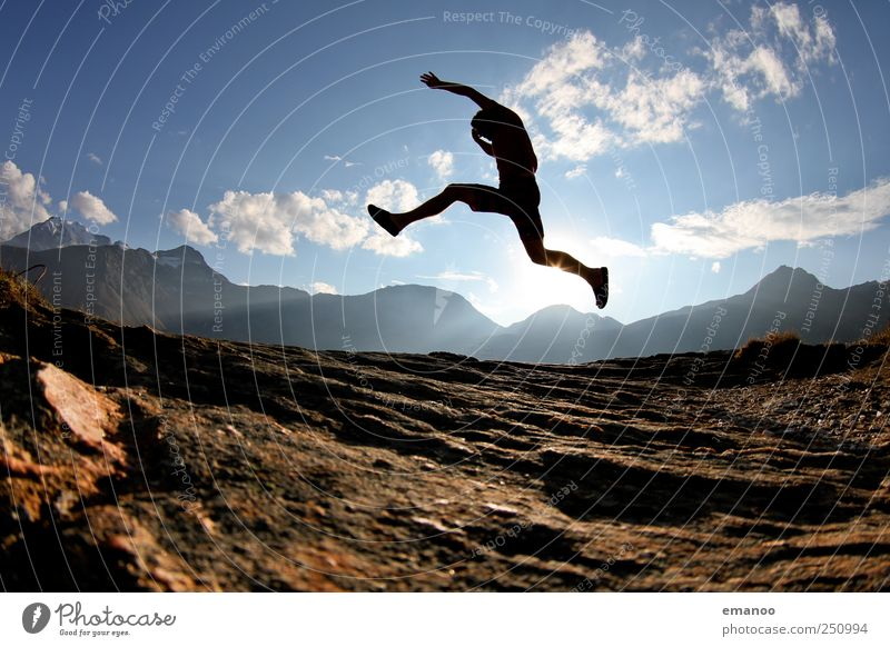 Human being Sky Man Vacation & Travel Summer Joy Adults Mountain Freedom Jump Style Weather Rock Walking Hiking Trip