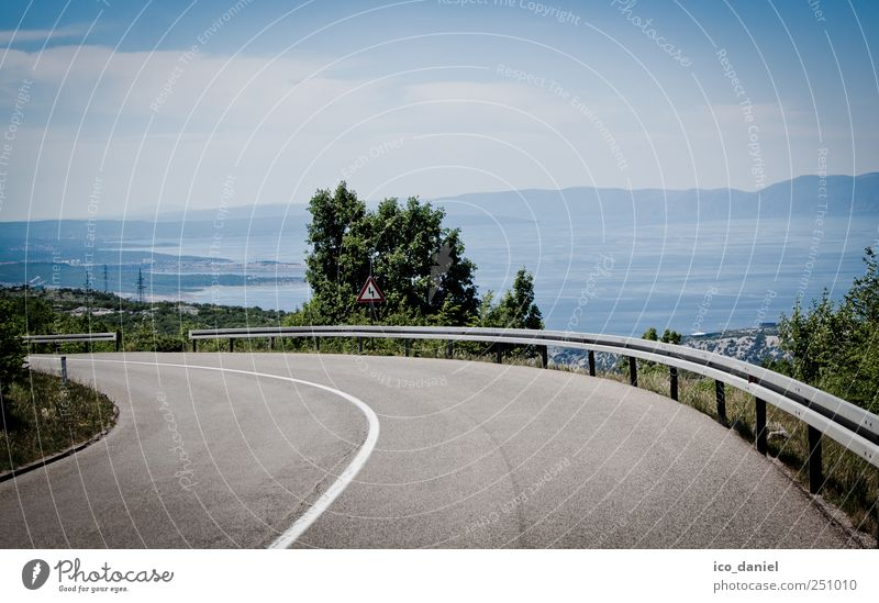 Arrived at the coast. Vacation & Travel Tourism Trip Sightseeing Summer Summer vacation Landscape Sky Clouds Ocean Croatia Europe Street Driving Blue Gray Green