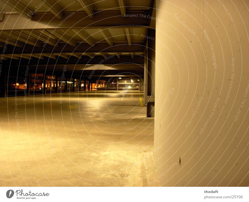 parking level Garage Parking level Wall (building) Light Night Architecture Shadow