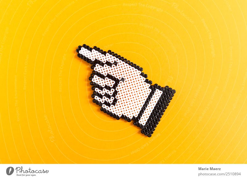 Finger index - index finger symbol made of iron-on beads Work and employment Fingers Communicate Make Simple Hip & trendy Above Yellow Might Brave Attentive