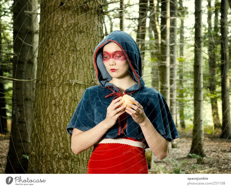 Woman Human being Nature Youth (Young adults) Blue Beautiful Tree Plant Red Forest Feminine Landscape Emotions Adults Think Moody