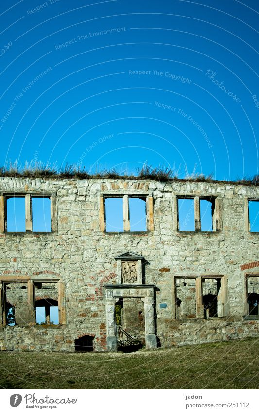 Old Blue House (Residential Structure) Wall (building) Window Architecture Garden Wall (barrier) Stone Door Flat (apartment) Elegant Facade Construction site