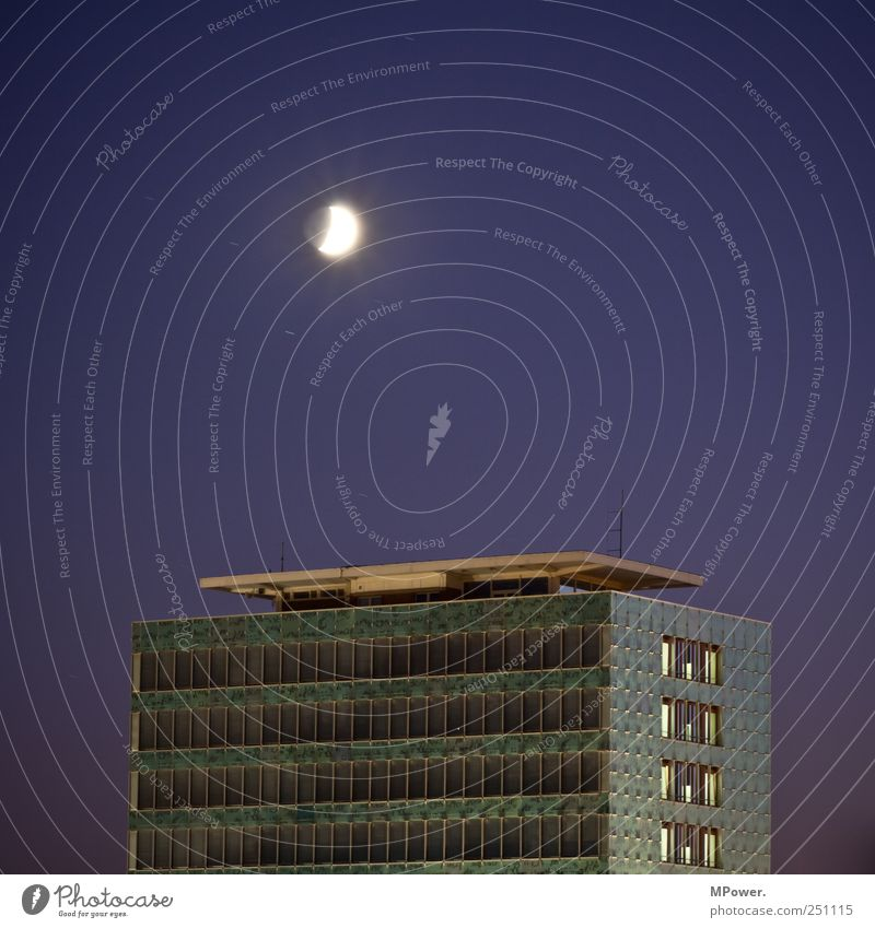 passive light source Downtown High-rise Bank building Facade Balcony Window Antenna Blue Moon Moonlight Prefab construction Starry sky Dresden Old Old building