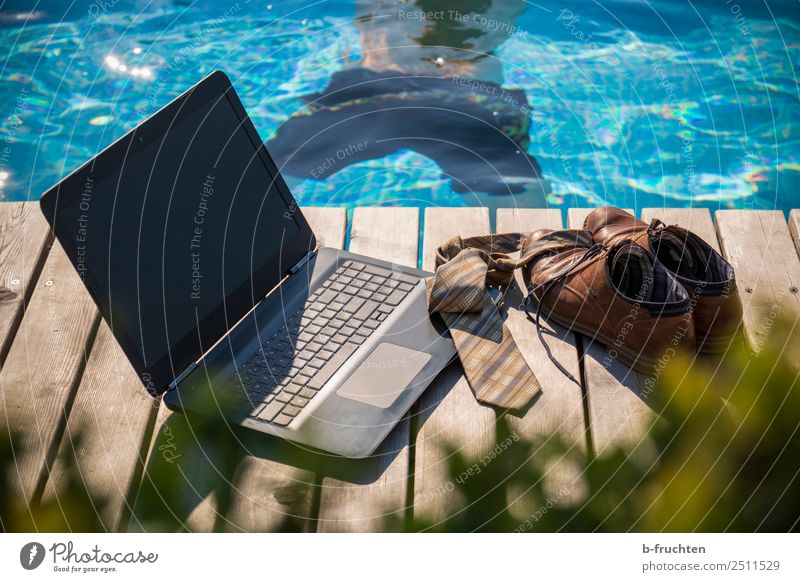 lunch break Relaxation Swimming pool Vacation & Travel Summer vacation Business Notebook Masculine Man Adults Body Back Swimming trunks Tie Footwear