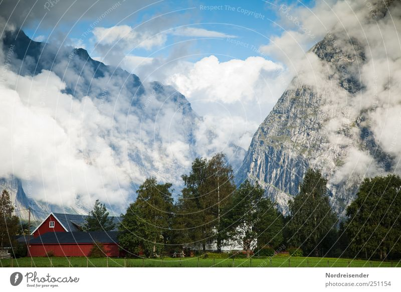 Sky Nature Summer Vacation & Travel Clouds House (Residential Structure) Far-off places Mountain Landscape Air Moody Rock Fog Tourism Esthetic Climate