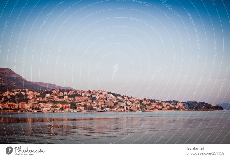 On the outskirts of Split Vacation & Travel Tourism Sightseeing City trip Summer Summer vacation Night life Water Cloudless sky Bay Ocean Croatia Europe Town